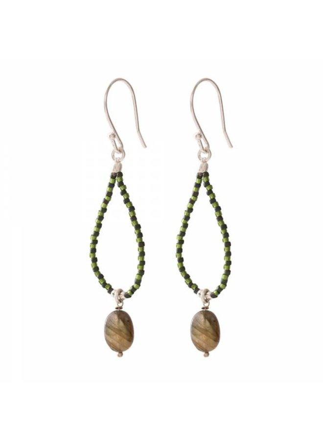 Oorbellen per paar Magical Labradorite Silver Earrings