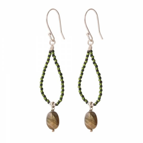 Oorbellen per paar Magical Labradorite Silver Earrings-1