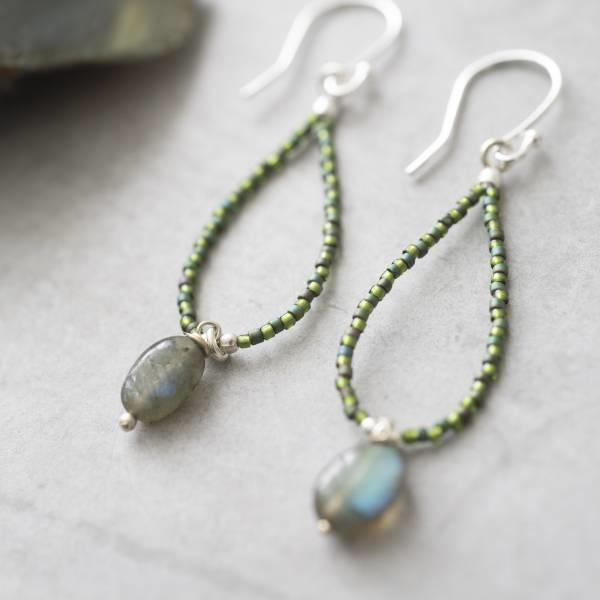 Oorbellen per paar Magical Labradorite Silver Earrings-2