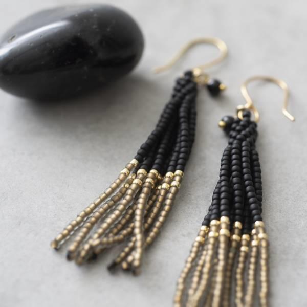 Oorbellen per paar  Dream Black Onyx Gold Earrings-2