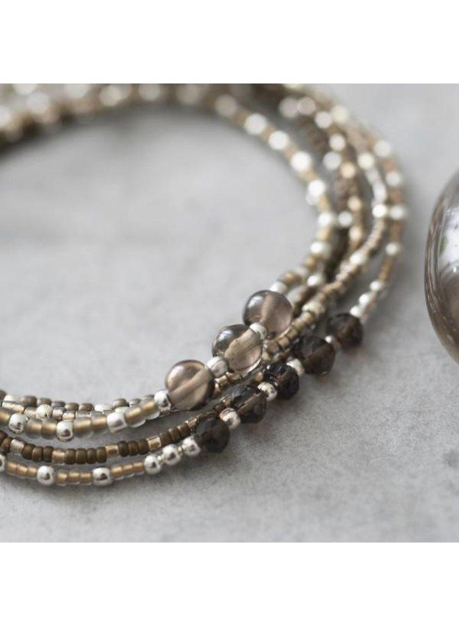 Armband Together Smokey Quartz Silver Bracelet
