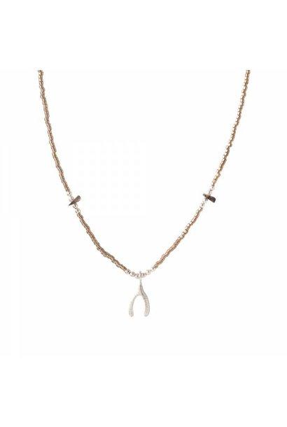 Ketting Wildflower Smokey Quartz Silver Necklace