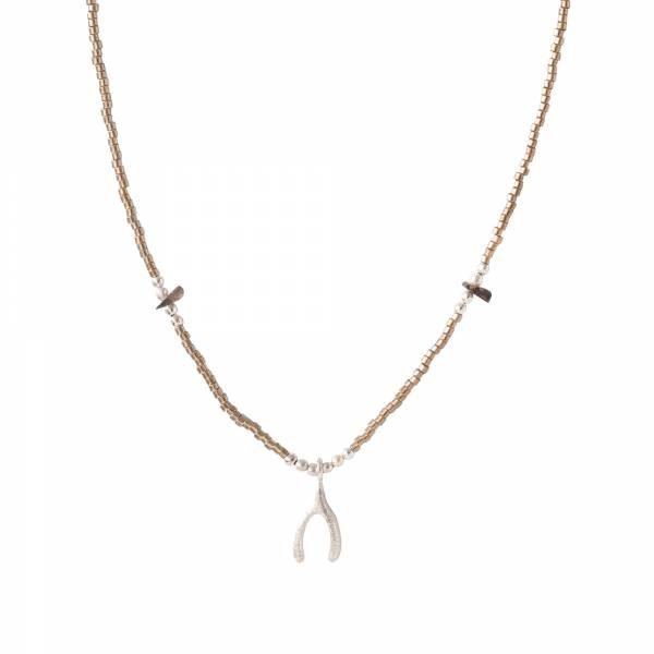 Ketting Wildflower Smokey Quartz Silver Necklace-1