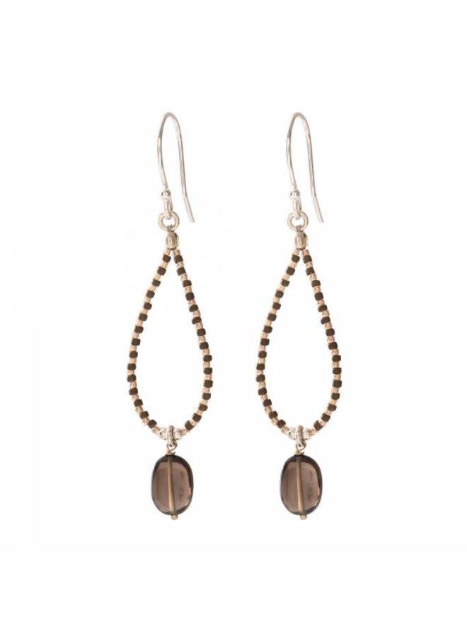 Oorbellen per paar Magical Smokey Quartz Silver Earrings