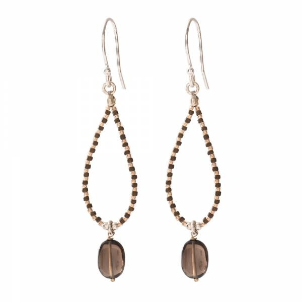 Oorbellen per paar Magical Smokey Quartz Silver Earrings-1