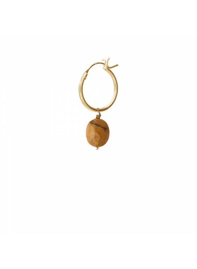 Oorbel per stuk Tiger Eye Gold Hoop Earring