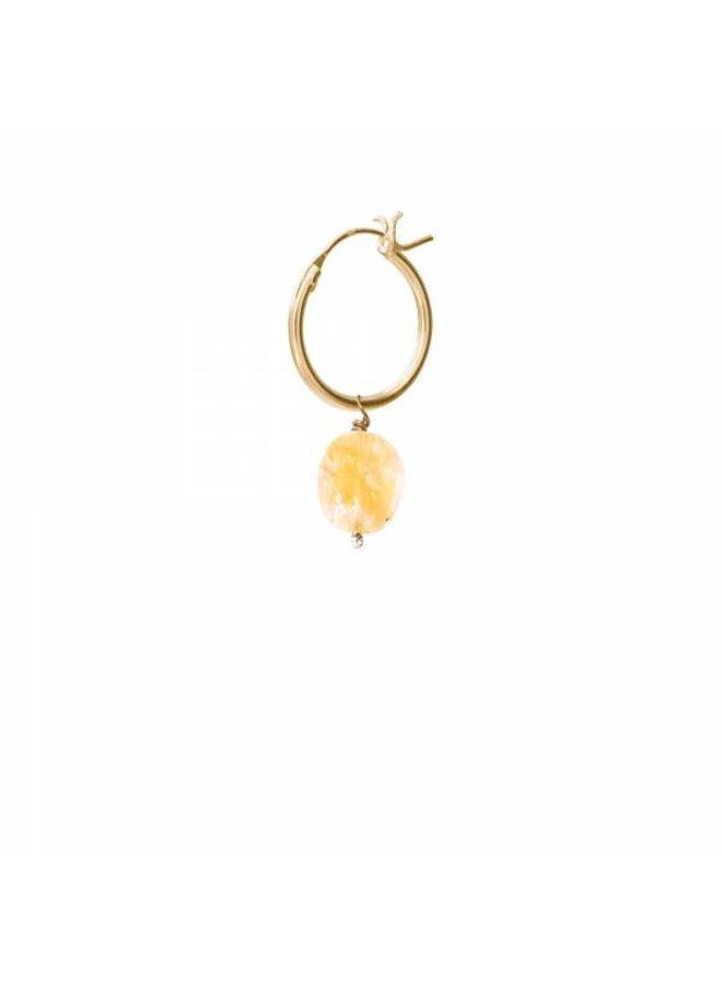 Oorbel per stuk Citrine Gold Hoop Earring
