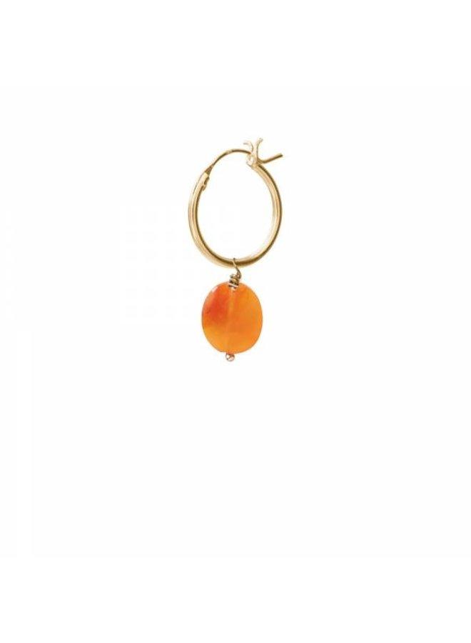 Oorbel per stuk Carnelian Gold Hoop Earring