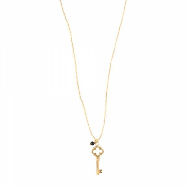 Ketting Paradise Black Onyx Gold Necklace-1