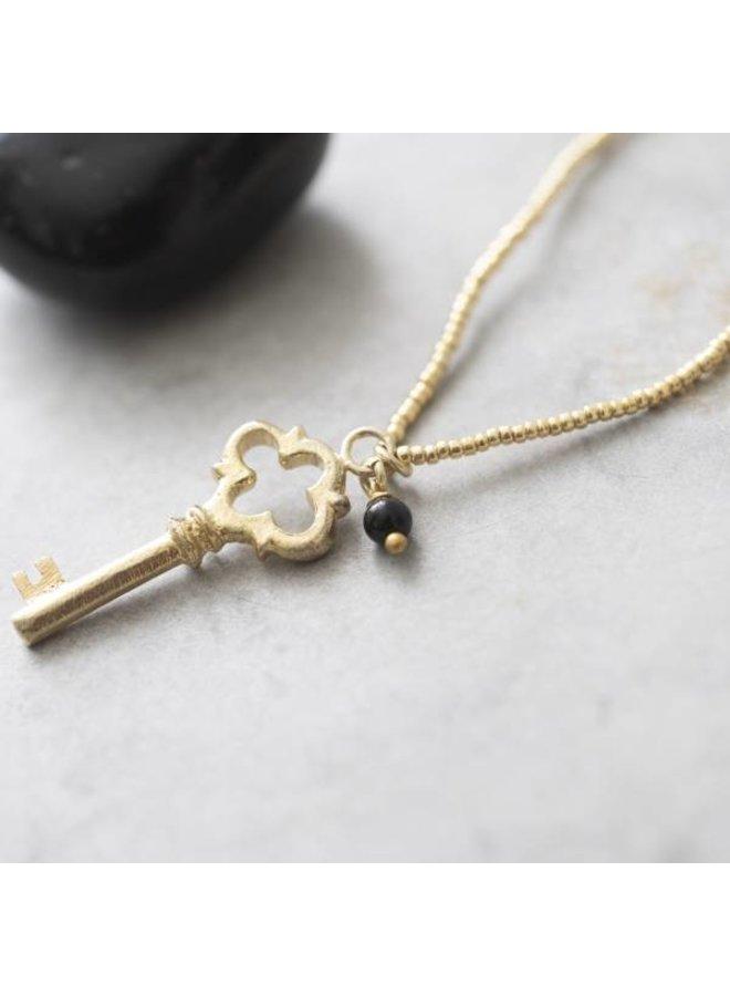 Ketting Paradise Black Onyx Gold Necklace