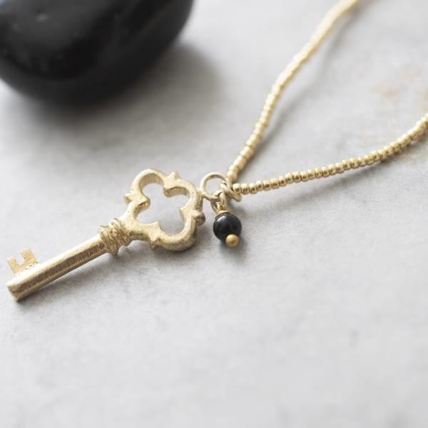 Ketting Paradise Black Onyx Gold Necklace-2