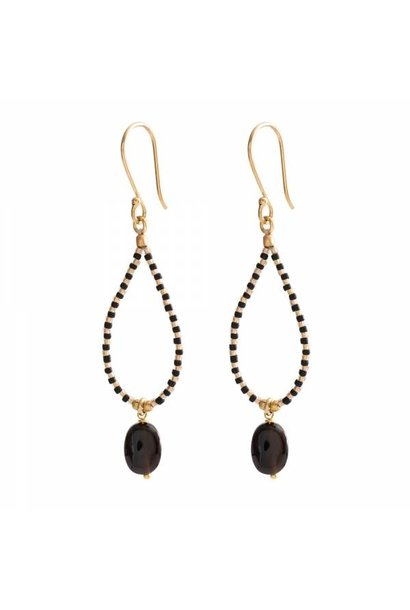 Oorbellen per paar Magical Black Onyx Gold Earrings