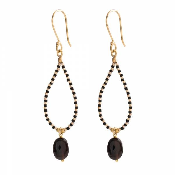 Oorbellen per paar Magical Black Onyx Gold Earrings-1