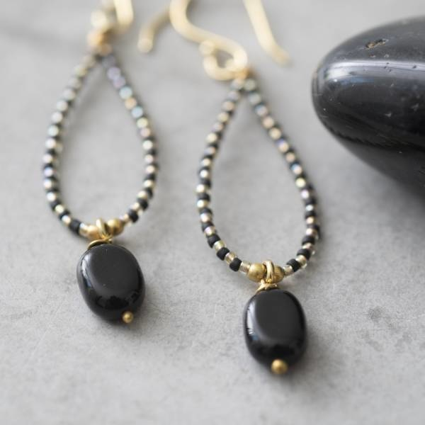 Oorbellen per paar Magical Black Onyx Gold Earrings-2