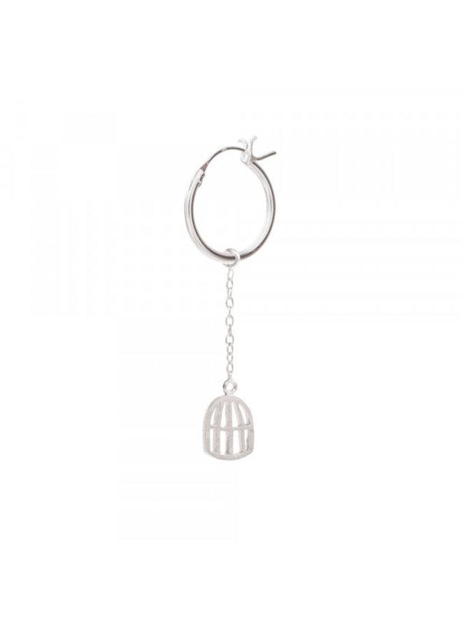 Oorbel per stuk Birdcage Sterling Silver Hoop Earring
