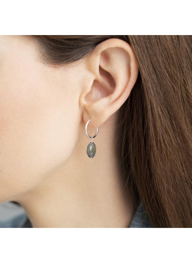 Oorbel per stuk Labradorite Sterling Silver Hoop Earring