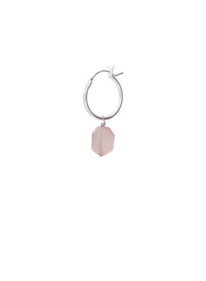 Oorbel per stuk Rose Quartz Silver Hoop Earring