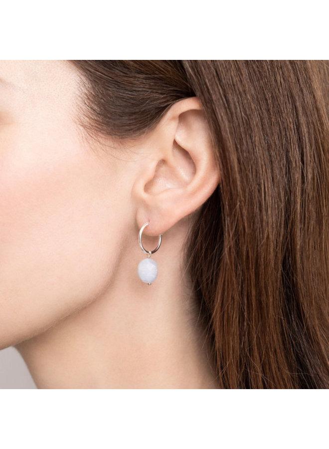 Oorbel per stuk Blue Lace Agate Silver Hoop Earring