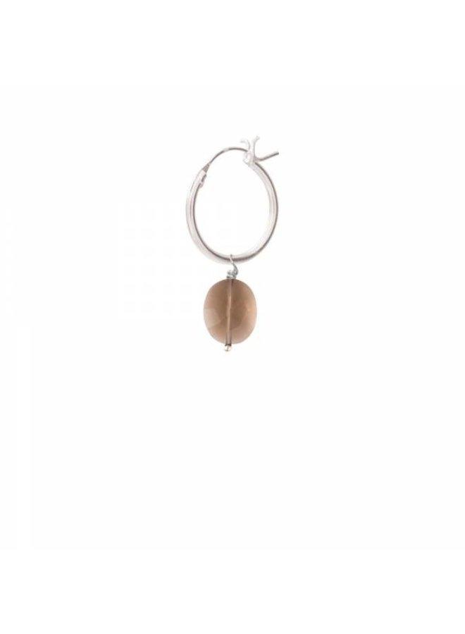 Oorbel per stuk Smokey Quartz Silver Hoop Earring
