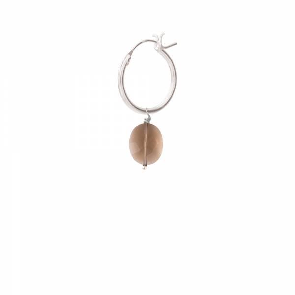 Oorbel per stuk Smokey Quartz Silver Hoop Earring-1