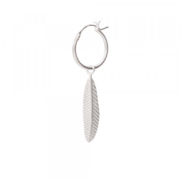 Oorbel per stuk Feather Sterling Silver Hoop Earring-1
