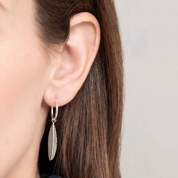 Oorbel per stuk Feather Sterling Silver Hoop Earring-2