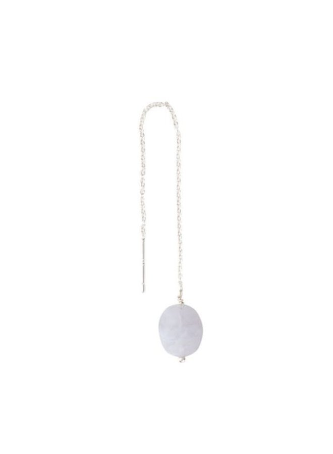Oorbel per stuk Elegant Blue Lace Agate Silver Earring