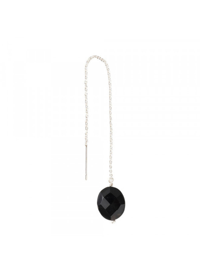 Oorbel per stuk Elegant Black Onyx Silver Earring