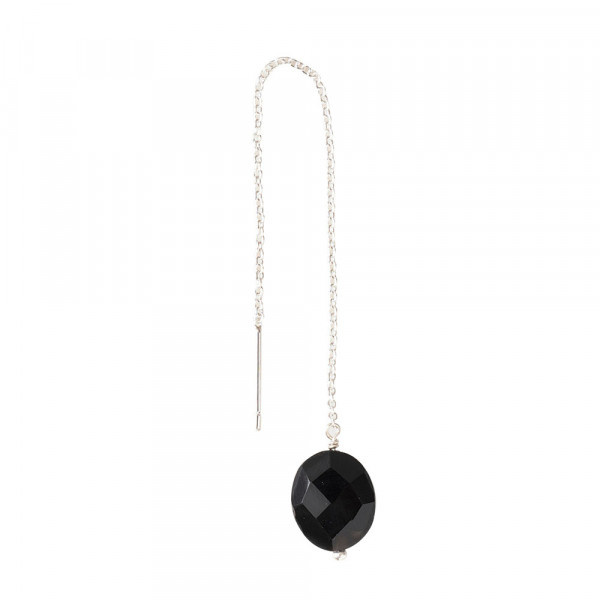 Oorbel per stuk Elegant Black Onyx Silver Earring-1