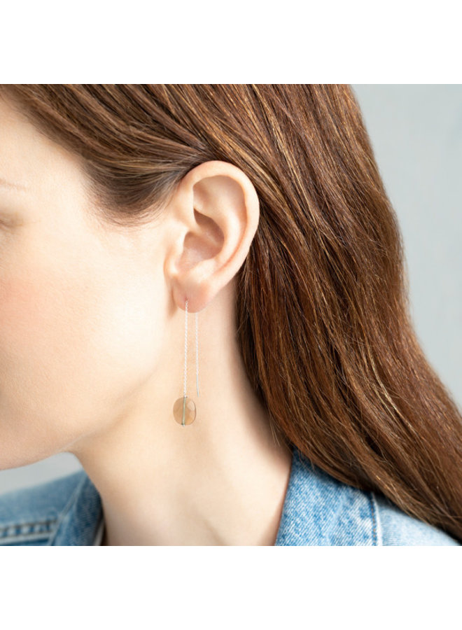 Oorbel per stuk Elegant Smokey Quartz Silver Earring