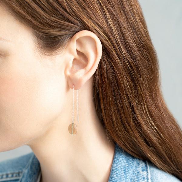 Oorbel per stuk Elegant Smokey Quartz Silver Earring-2