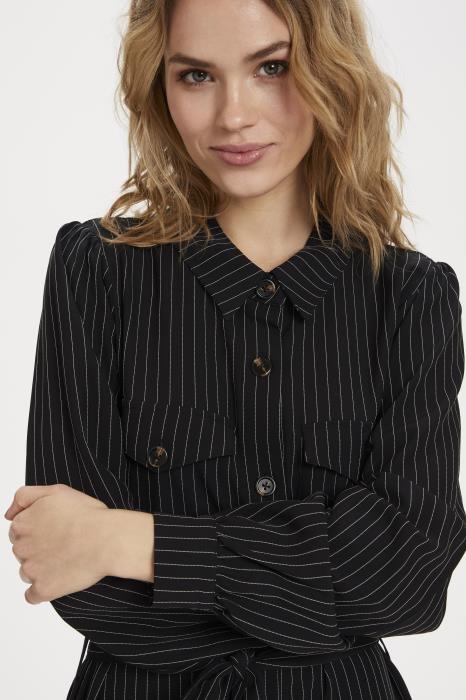 Jurk kagaye shirt dress black pinstripe-5