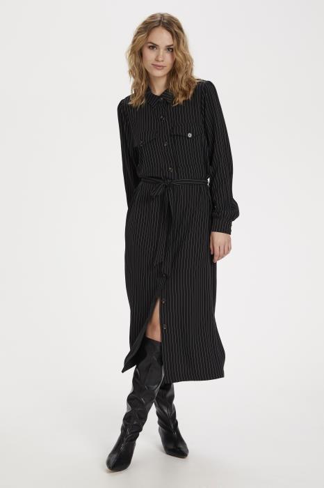 Jurk kagaye shirt dress black pinstripe-2