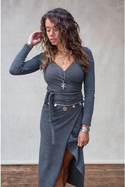Top Gina wrap stone grey