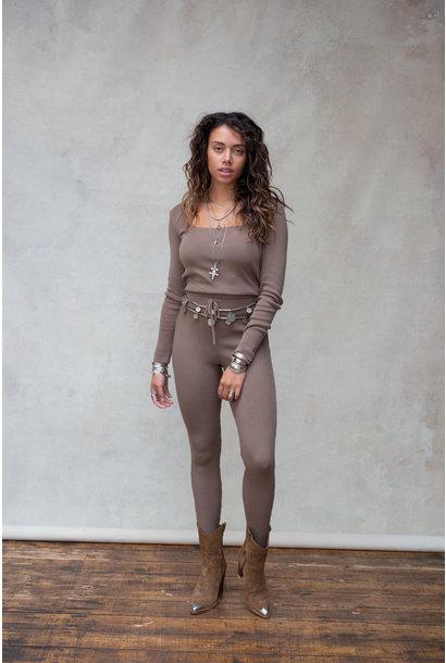 Broek Fierce knitted ash brown
