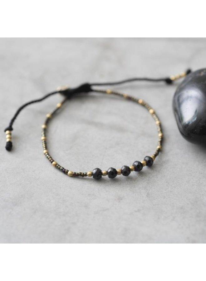 Armband Family Black Onyx Gold Bracelet