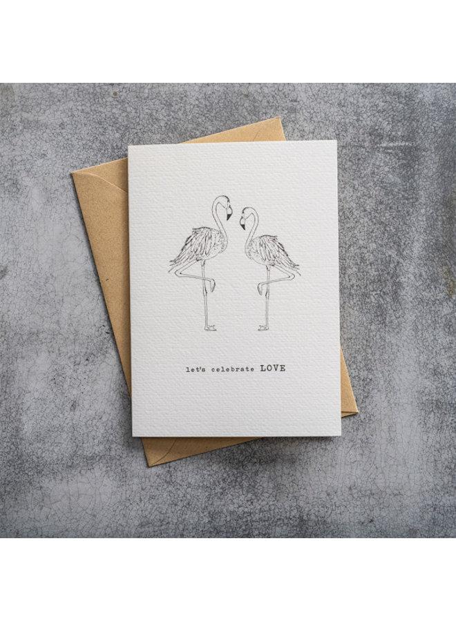 Kaart Greeting Card Flamingos