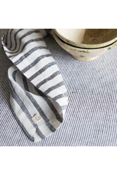 Tafelkleed Washed Linen Striped Black/Milk 175x250