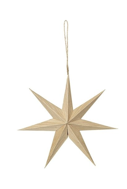 Hangdecoratie Deco star Venice Wood Natural 20x4cm