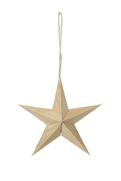 Hangdecoratie Deco star Venice Wood Natural 15x5cm