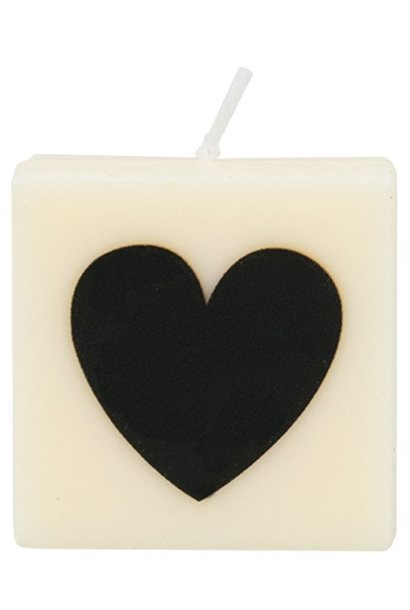Kaars letter candle heart black
