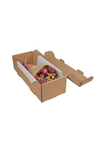 Droogbloemen  hand tied bouquet in box pink