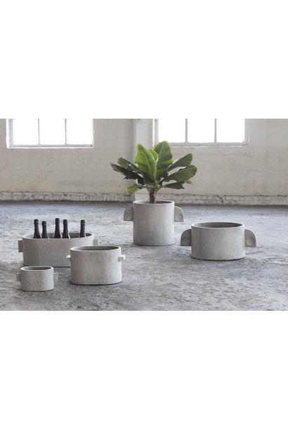 Bloempot Oval grey concrete 55x36