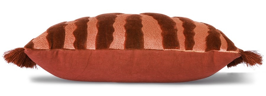 Kussen fringed velvet tiger cushion red (25x40)-3