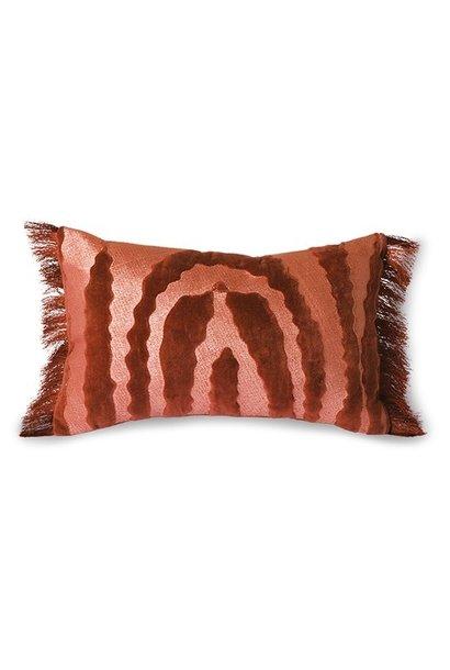 Kussen fringed velvet tiger cushion red (25x40)
