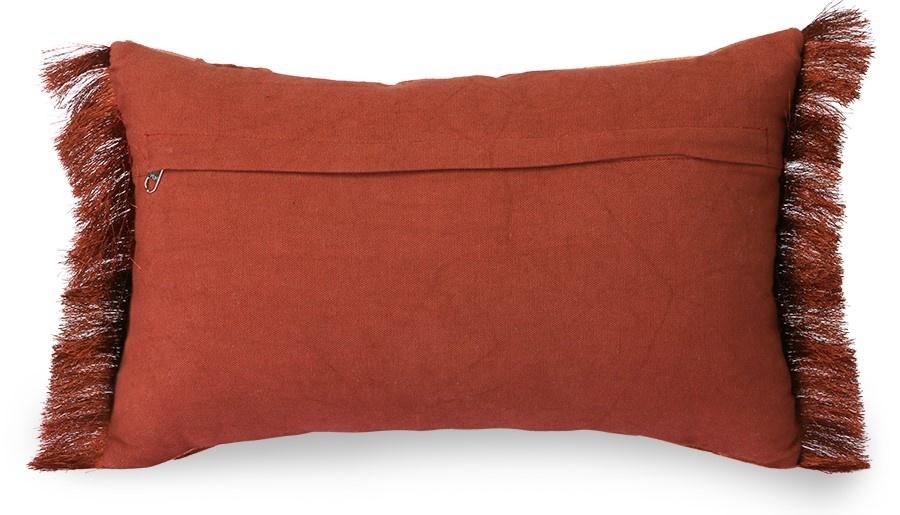 Kussen fringed velvet tiger cushion red (25x40)-4