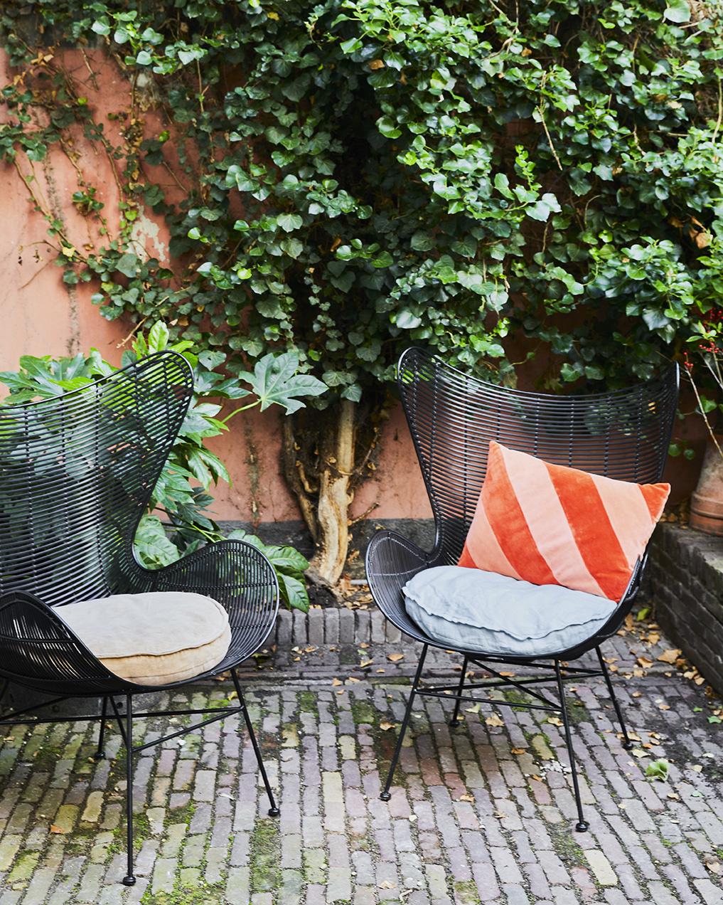 Kussen linen seat cushion round ice blue (ø60)-2