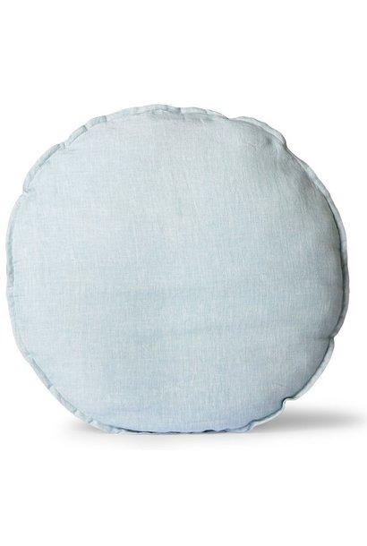Kussen linen seat cushion round ice blue (ø60)