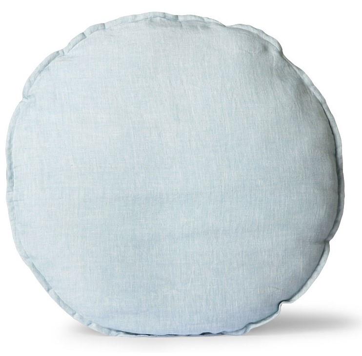 Kussen linen seat cushion round ice blue (ø60)-1
