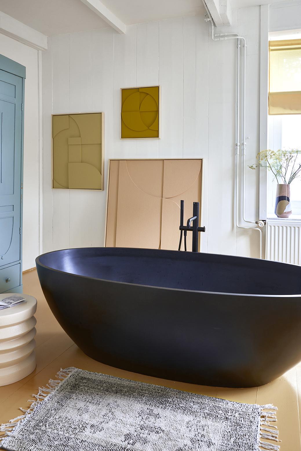 Badmat printed bath mat black/white overtufted (60x90)-2